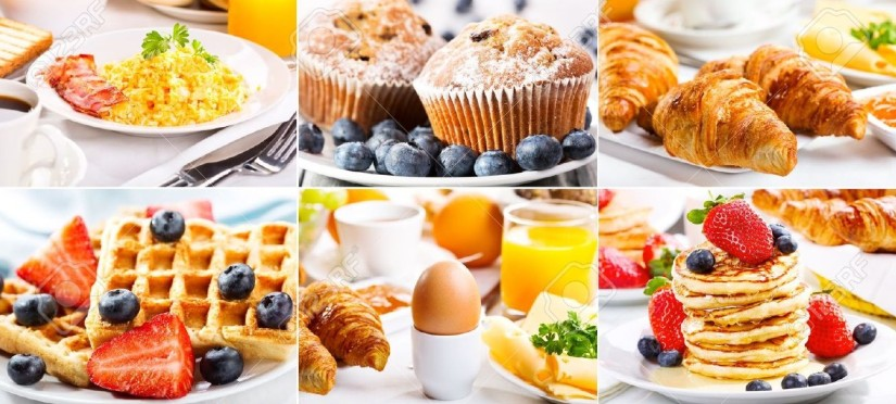 18595185-collage-of-breakfast-with-eggs-coffee-croissants-pastry-and-fruits-Stock-Photo