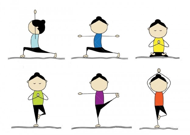 9778108-woman-practicing-yoga-stock-vector-yoga-cartoon-exercise-624x446